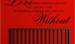 LOVE ISN'T FINDING SOMEONE VINYL WALL ART STICKERS GRAPHICS