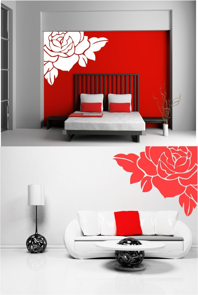 LARGE ROSE FLOWER VINYL WALL ART STICKERS Custom DesignsCustom