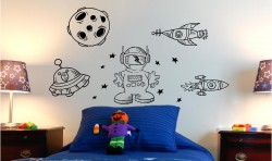 SPACEMAN AND SPACESHIPS KIDS VINYL WALL ART STICKERS GRAPHICS
