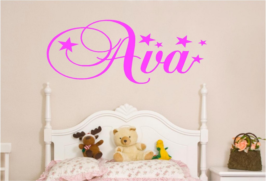 Personalised kids names in stars vinyl wall art sticker