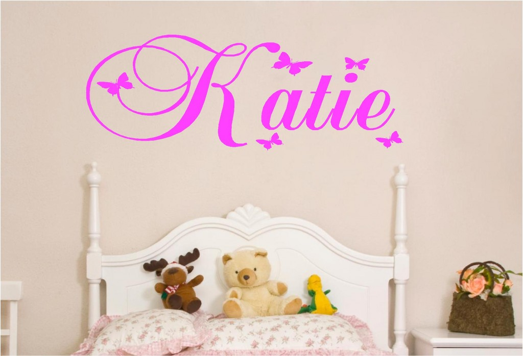 Personalised kids names in butterfly vinyl wall art sticker