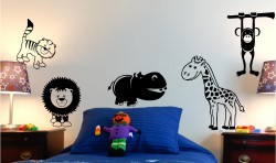 ZOO ANIMALS KIDS VINYL WALL ART STICKERS