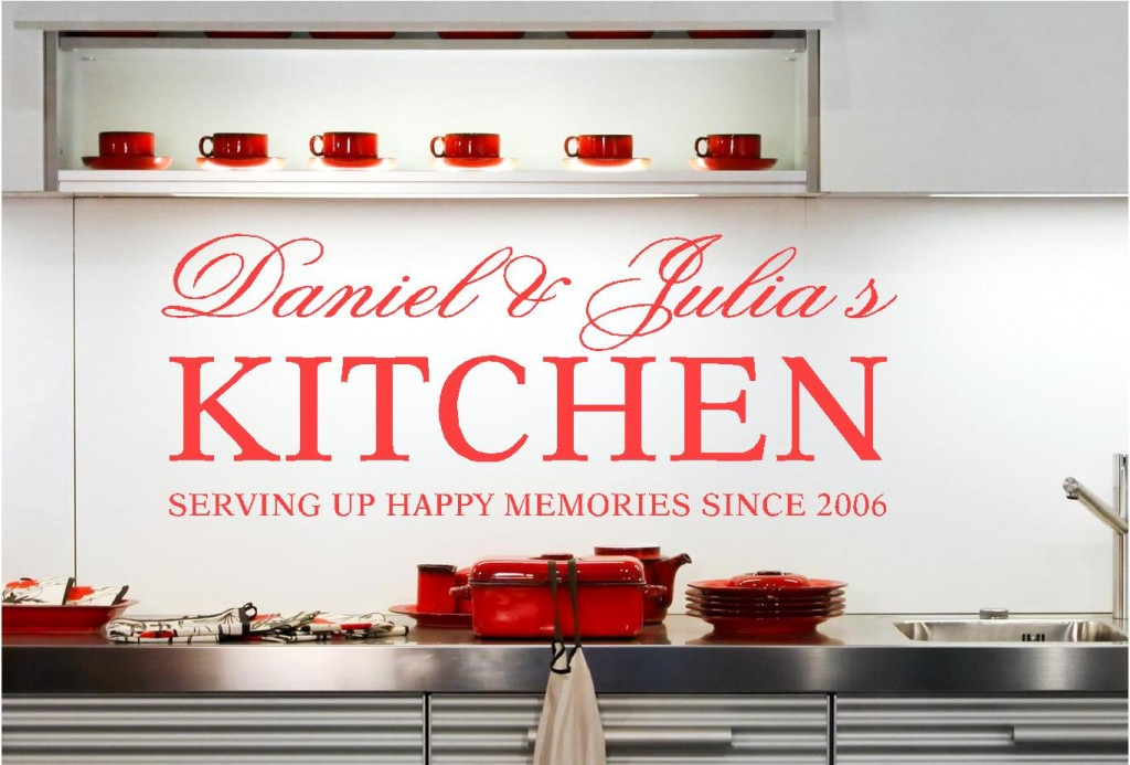 personalised kitchen names vinyl wall art stickers graphics custom