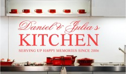 PERSONALISED KITCHEN NAMES VINYL WALL ART STICKERS GRAPHICS