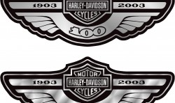 HARLEY 100TH ANNIVERSARY MOTORBIKE TANK DECALS STICKERS X2