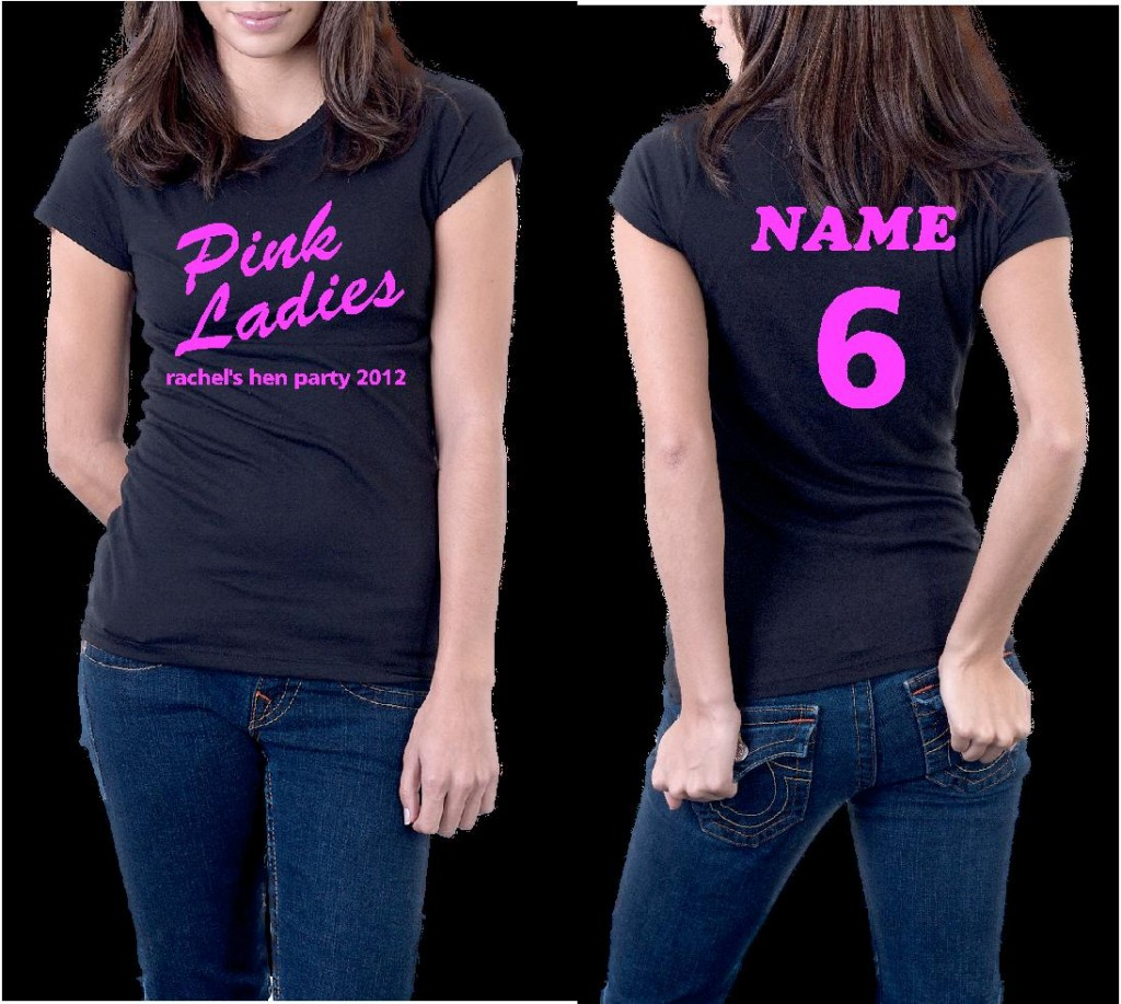 Grease pink ladies personalised hen holiday event t shirt for Pink ladies tee shirts