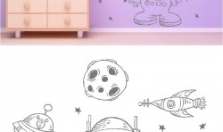 SPACEMAN AND ALIENS KIDS WALL ART STICKERS LARGE