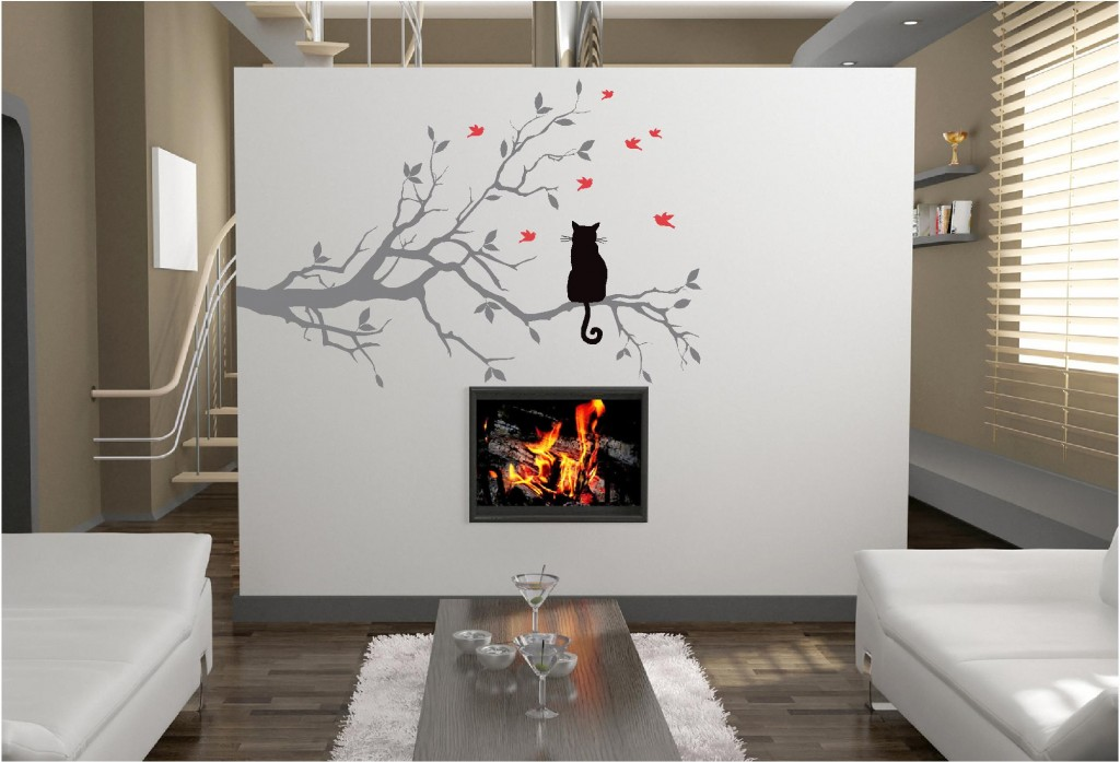 Cat in a tree vinyl wall art stickers graphics design for Interior wall art