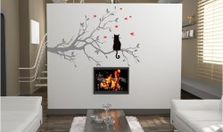 CAT IN A TREE VINYL WALL ART GRAPHICS INTERIOR DESIGN