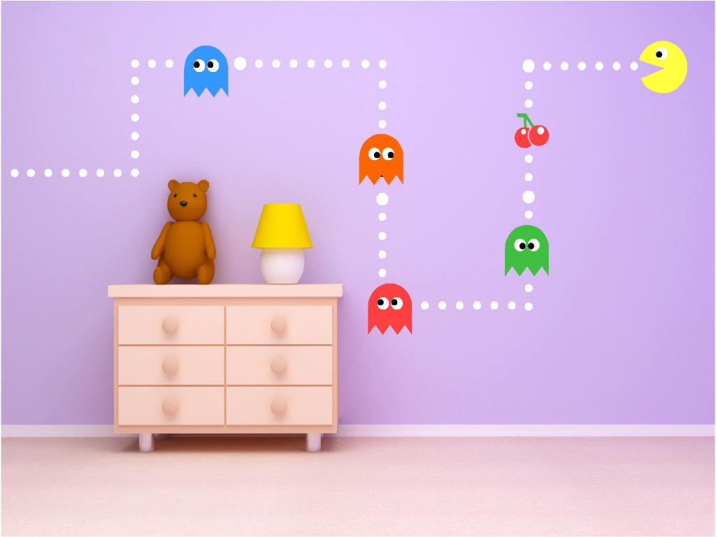 Elegant PAC MAN CLASSIC GAME KIDS VINYL WALL ART STICKERS