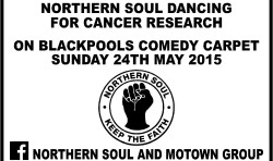 northern soul cancer reasearch charity sticker